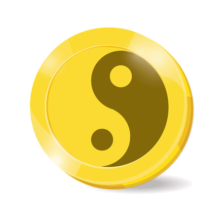 daoism: illustration. coin yinyang on white background.