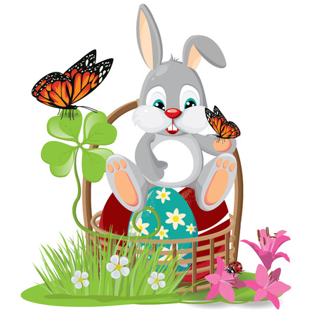 april: illustration. Easter bunny on a white background.