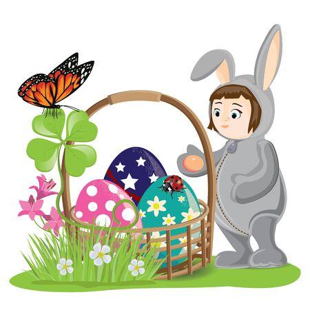 Illustration. Easter and lovely children. Vector