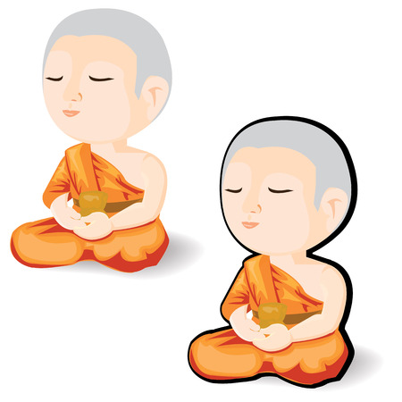 liberate: illustration Cartoon buddhist monk meditating on a white background. Illustration