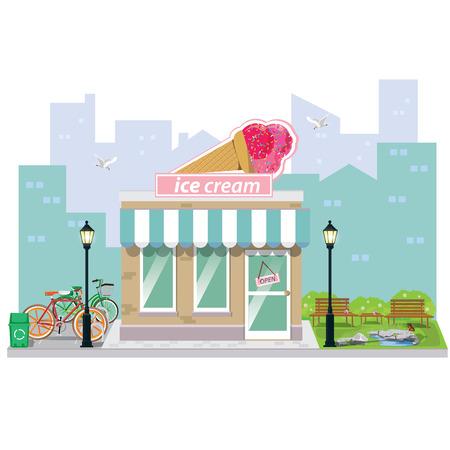 illustration. ice cream and shop building facade. Stock Illustratie
