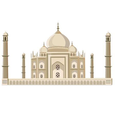 illustration. Taj Mahal on a white background. Vector