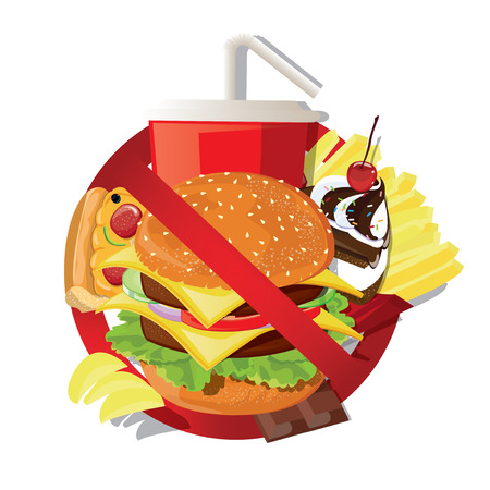 additives: illustration. Fast food danger label Illustration
