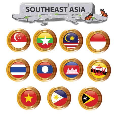 illustration.Southeast Asia on white background