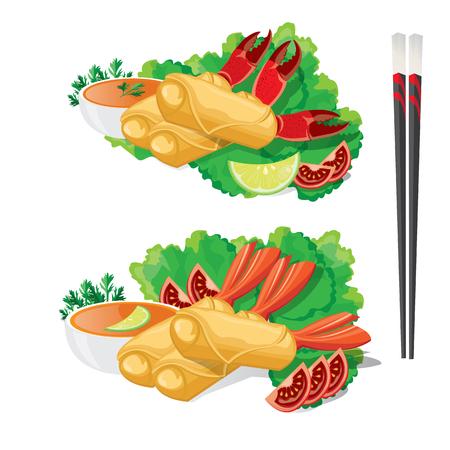 thai noodle: illustration. spring roll. Illustration
