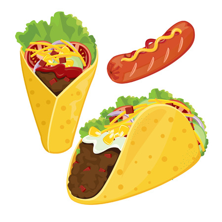 unhealthy food: illustration. taco and sausage on white background.