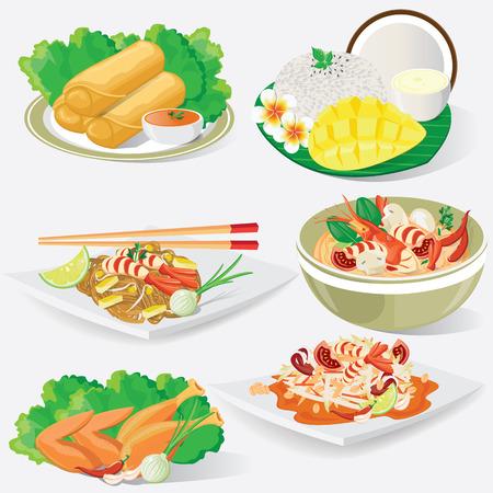 hot asian: иллюстрации. Тайская кухня Иллюстрация