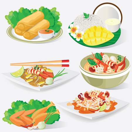 thai noodle: illustration. Thai cuisine
