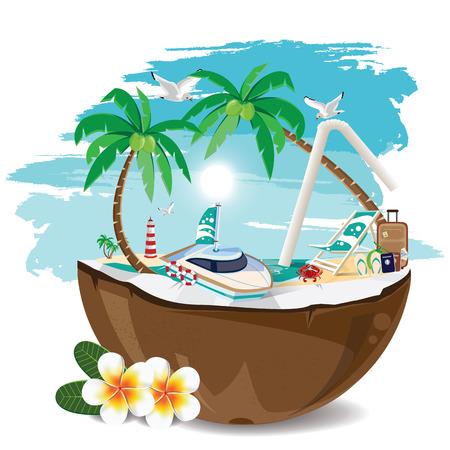 coconut crab: illustration. travel summer on the beach