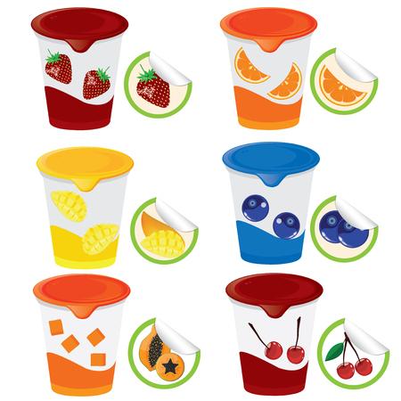 jams: illustration. fruit yogurt on white background.