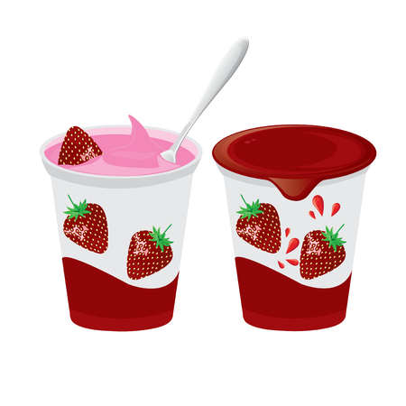 illustration. fruit yogurt on white background.strawberry yogurt.