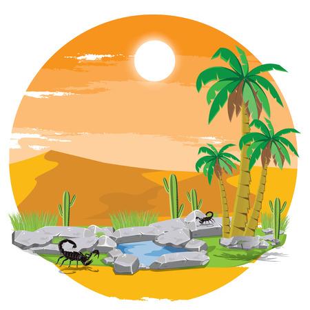 illustration. oasis in the desert. Stock Illustratie
