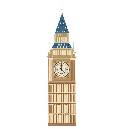 westminster abbey: illustration Elizabeth Tower on white background. Illustration