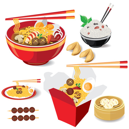 fried shrimp: Stock Illustration: illustration noodle on white food china vector Illustration