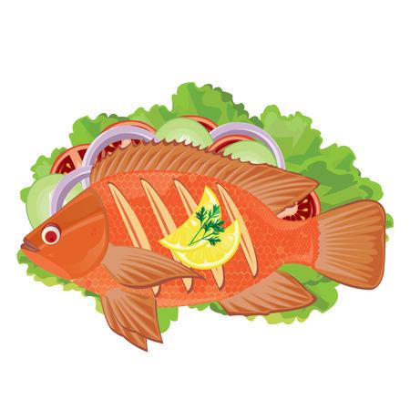 fritto: illustrazione pesce fritto su un bianco Vettoriali