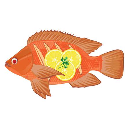 fritto: illustrazione pesce fritto su uno sfondo bianco.
