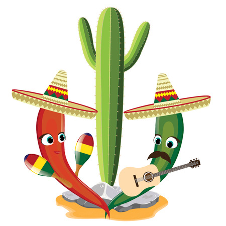 Mexico set Illustration of Mexican playing guitar and maracas.