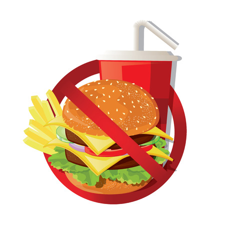 prohibiting: illustration. Fast food danger label Illustration