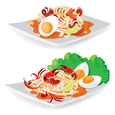 illustration. Thailand national dishes Thai papaya salad