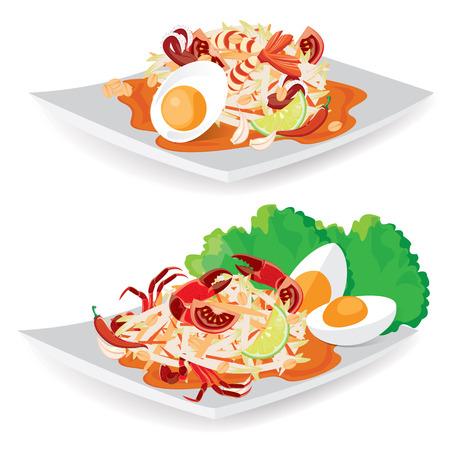 thai herb: illustration. Thailand national dishes Thai papaya salad