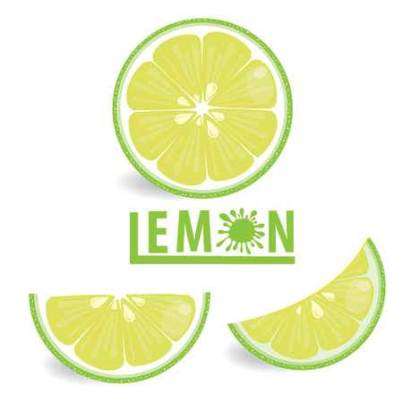 illustration lemon fruits on white vector