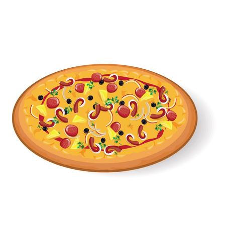 foodstuffs: illustrationpizza on white  background. Illustration