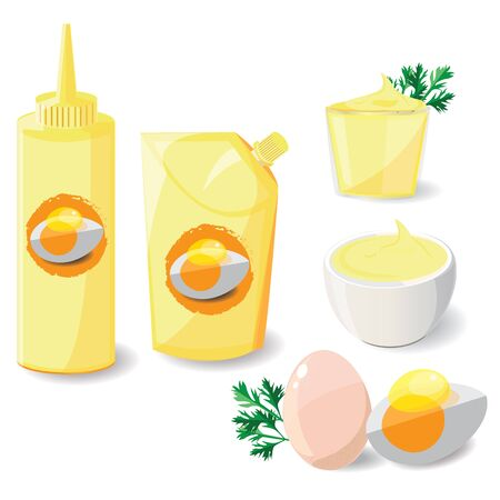 mayonnaise: illustration mayonnaise on white background. Illustration