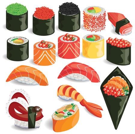 illustrationsushi kleurrijke op een witte achtergrond.
