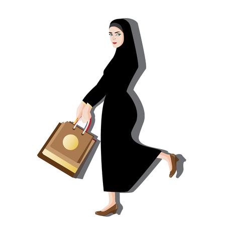 jab: illustration woman muslim shopping on white background.