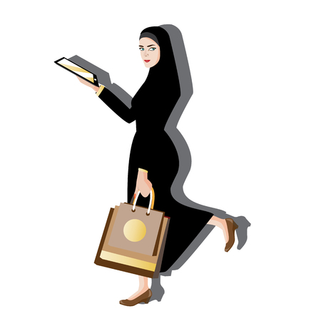 woman on phone: illustration woman muslim modern on white background.