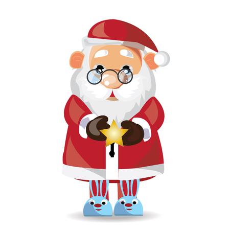 Santa ClausPajamas show on white background.  イラスト・ベクター素材