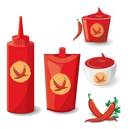 illustration chili Sauce on white background. Illustration