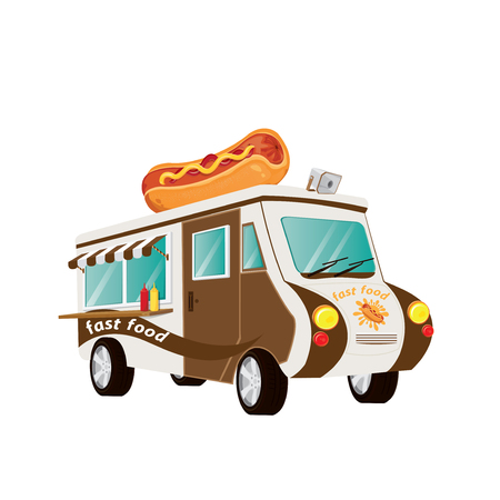 street food: hot dog fast food car.vector, illustration