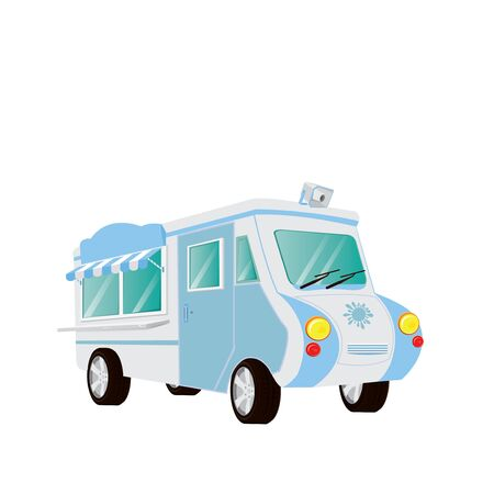 an awning: food car with awning on white background