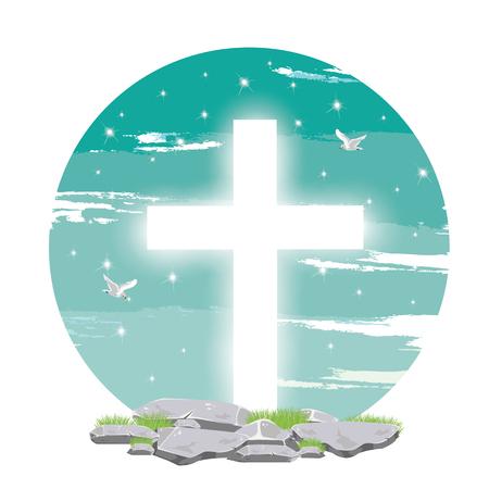 pentecost: Holy spirit dove flies in blue sky,light from heaven, Christian symbol