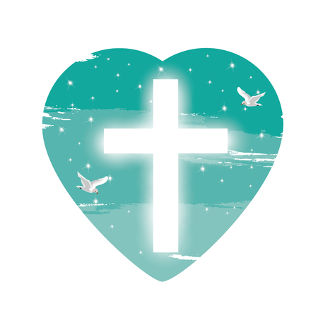 believers: Illustration. with cross of Christ and believers. Illustration