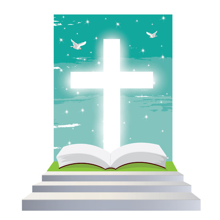 christian cross and wings: illustration. Bible open Christian. Staircase into the light. Religious symbol of Christianity.