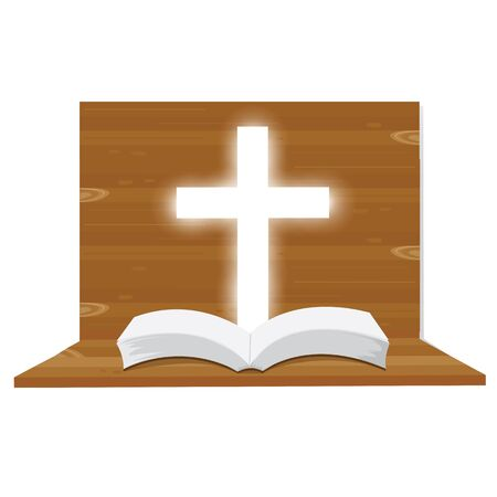 baptist: illustration. Bible open Christian. into the light. Religious symbol of Christianity.