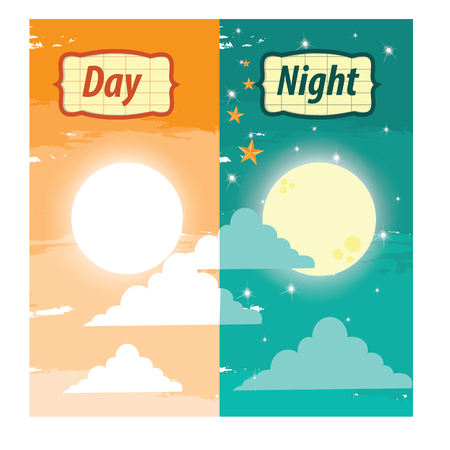 the night: illustration. day and night