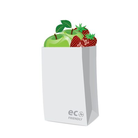 reusable: Vector, Illustration, bag paper eco friendly with fruit on a white background. Illustration