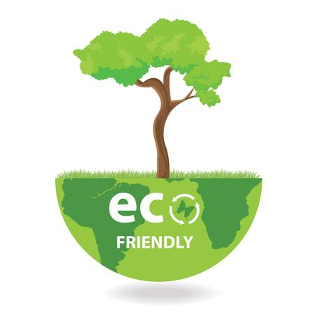 plantar árbol: Ilustraci�n planeta respetuoso del medio ambiente. Plantaci�n de �rboles verdes.