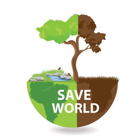 rainwater: Ecology concept. save world vector illustration. Illustration