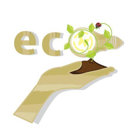 green world: Eco friendly green energy. save world vector illustration.