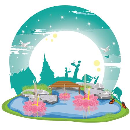 illustration. Loy Krathong Festival 1  イラスト・ベクター素材