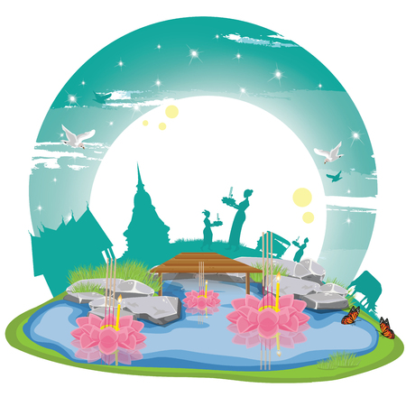 illustration. Loy Krathong Festival 1 向量圖像