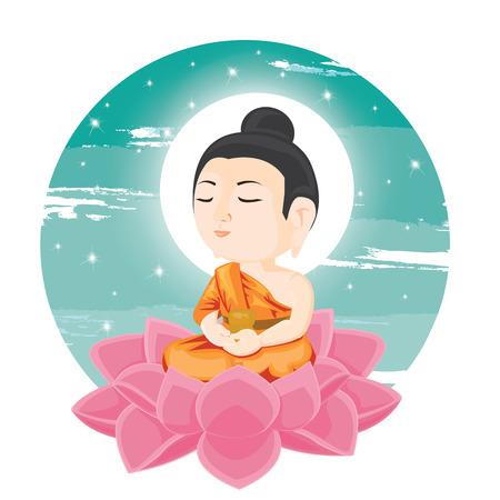 illustration. Buddha sitting on lotus flower.
