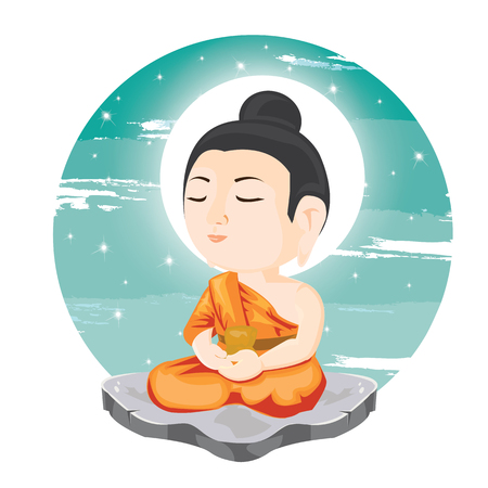 illustration. buddha sitting on stone. Çizim