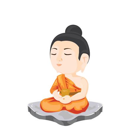 illustration. Buddha sitting on rock  イラスト・ベクター素材