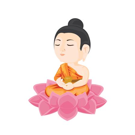 illustration. buddha sitting on lotus flower. Stock Illustratie