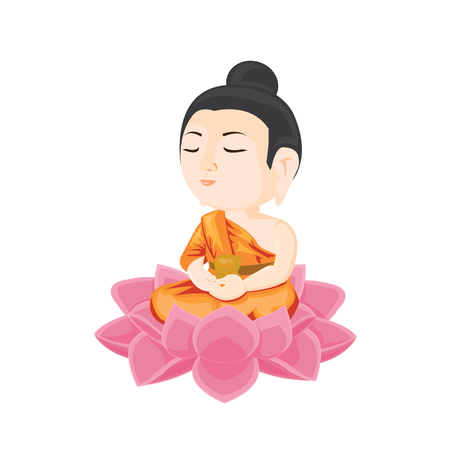 illustration. buddha sitting on lotus flower. 向量圖像